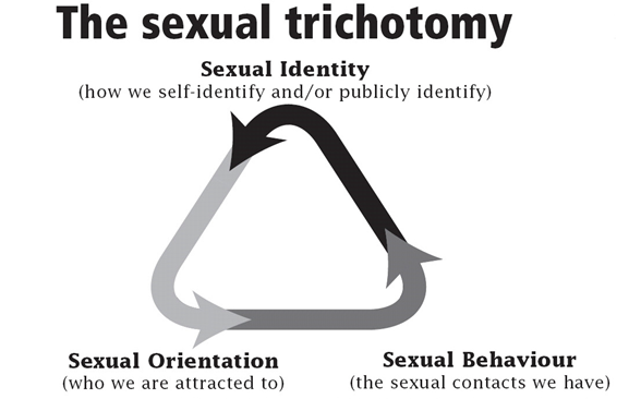 Diagram of the sexual trichotomy showing the three components of sexual identity, sexual behaviour and sexual orientation