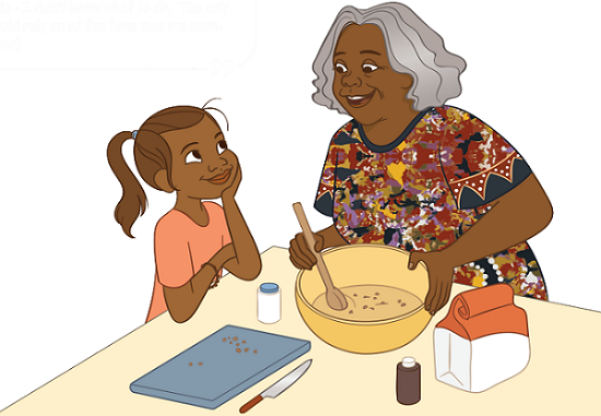 Girl cooking with grandmother